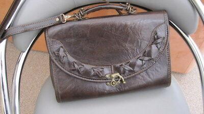 Dunkelbraune Damen Echtleder Tasche, Umhängetasche, kleiner Koffer,Messenger Bag