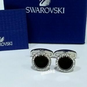 b45c2ea9c6 Image is loading Swarovski-Adventure-Hematite-Cufflinks-Circle-Clear-Crystal -MIB-