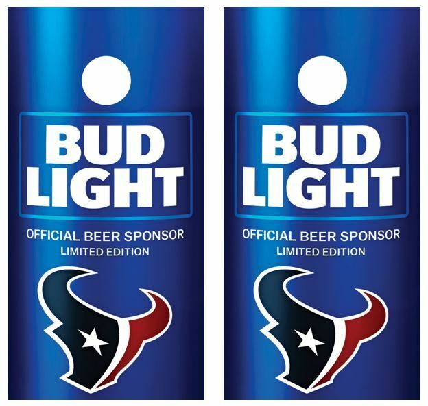 Bud Light   Houston Texans Cornhole Board Skin Wrap FREE Laminate