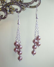 Coffee Bronze Glass Pearl Dangly Chain Silver Plated Drop Earrings