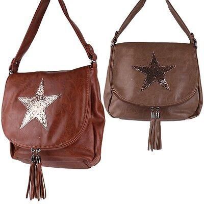 Stern Star Glitzer Umhänge Tasche Cross Bag Shopper Clutch Quasten Fransen NEU