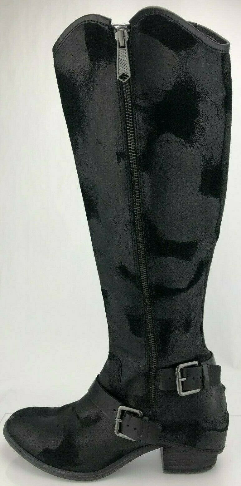 Donald J Pliner Knee High Boots Black Zip Adjustable Buckle shoes Womens 8.5 M