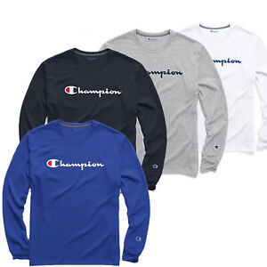 Classic-Champion-Men-Jersey-Script-Logo-Long-Sleeves-T-Shirt-S-XL