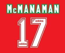 No 17 McManaman Liverpool 1994-1995 Home Football Nameset for Shirt LFC