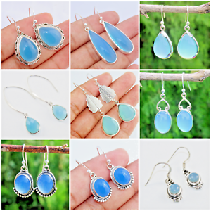 CHALCEDONY-925-SOLID-STERLING-SILVER-HANDMADE-JEWELRY-EARRING-IN-ALL-SHAPE