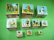 404KB1 Alte Stapelwürfel Holzwürfel Bilderwürfel, 50er - 60er Jahre. Holz Würfel