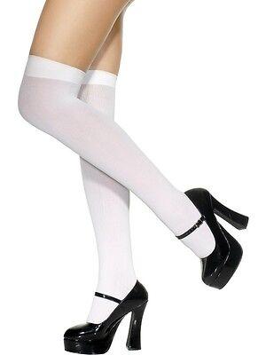 Brillante Nuova L Donna Sexy Naughty Coscia Alta Bianco Autoreggenti Calze 40 Denari Taglia Unica-mostra Il Titolo Originale Paghi Uno Prendi Due