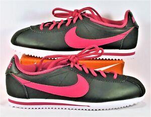 Nike Cortez GS Basic Leather Black   Vivid Pink   White Sz 5.5 NEW ... 596c06141