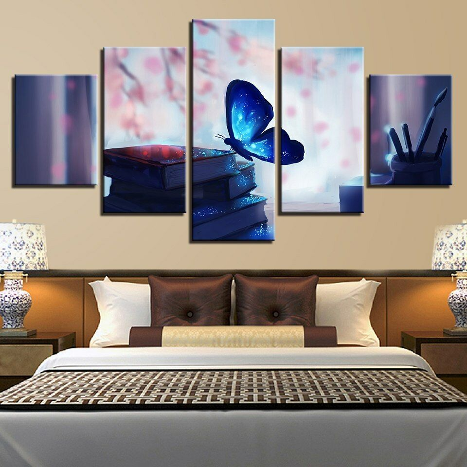 Glowing Blau Butterfly and Books 5 Panel Canvas Print Wall Art