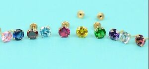 14K-Solid-Yellow-Gold-4mm-Round-Birthstone-Stud-Earrings-with-screw-back
