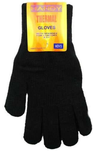 Mens Gents Youths Black Thermal Warm Knitted Gloves One Size