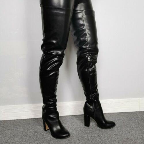 Damen Blockabsatz Rund Gothic Punk Overknee Langschaft Clubwear Stiefel Gr.35-47
