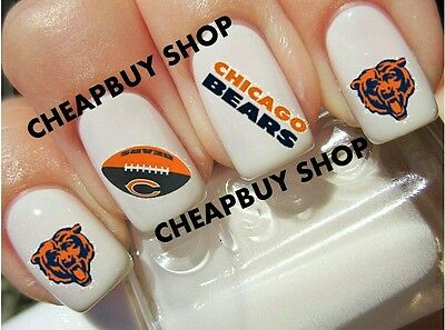 Top Quality《CHICAGO BEARS FOOTBALL》Tattoo Nail Art Designs Decals《NON-TOXIC》