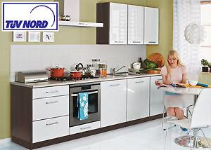 Details zu Küche Einbauküche Küchenzeile 300cm - modern weiss hochglanz  lackiert - günstig