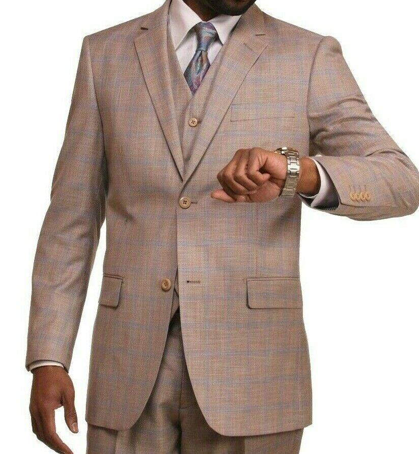herren CREAM KHAKI SAND LIGHT braun BEIGE TAN KHAKI 3 PC  VESTED SUIT 1803