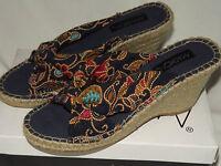 Markon Ladies 9 M Shoes Blue Print Fabric Crossover Vamp Jute Heel Open Toe