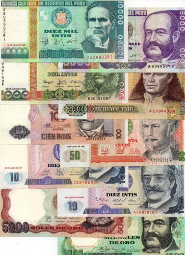 PERU South America set of 10 pcs all UNC all Diff 1981-1988