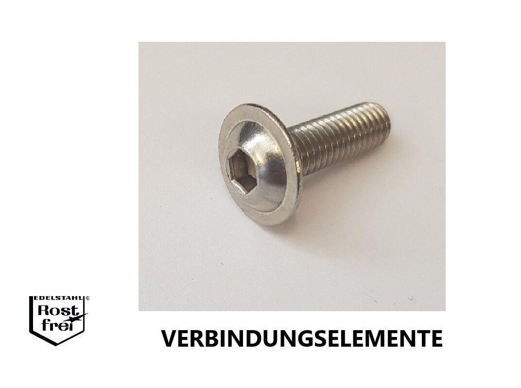 Linsenkopfschrauben mit FLANSCH und ISK  ISO 7380-2 EDELSTAHL versandkostenfrei