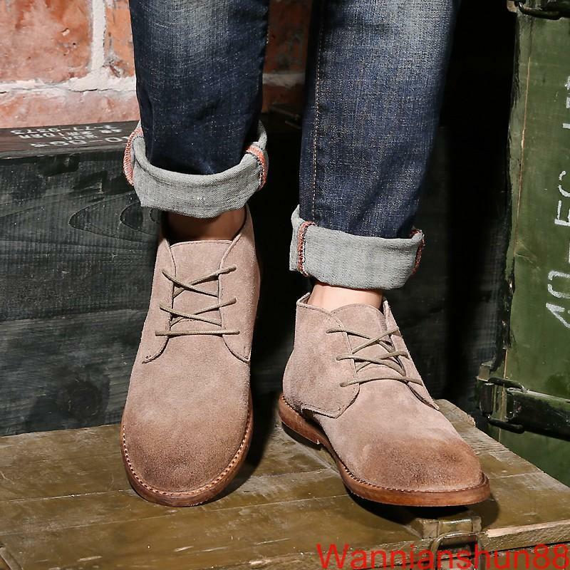 Retro Mens faux suede lace up Desert Boots Chukka Casual Work Boots shoes
