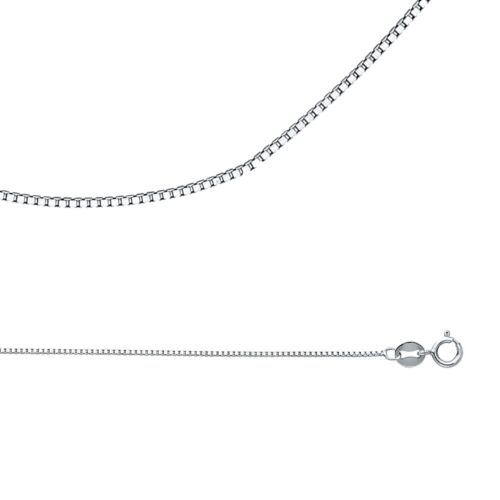 Solid 14k White Gold Necklace Box Chain Plain Square Links Thin 0.8 mm