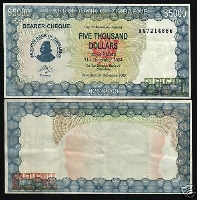 Zimbabwe 5000 Dollars P21 C 2003 W O Governor Name Rhodesia Currency Money Note Ebay