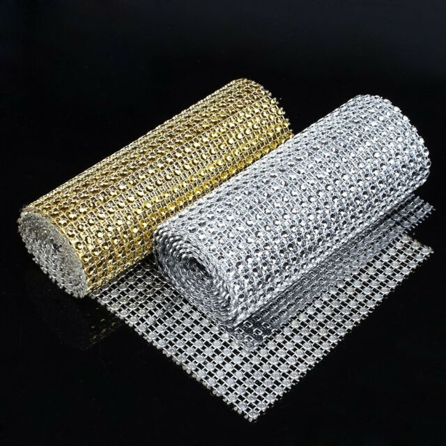 24 Rows Wedding Diamond Mesh Wrap Roll Sparkle Rhinestone Looking Ribbon 4.6''