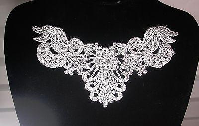 Venise Lace Yoke Flower Applique Metallic r Silver