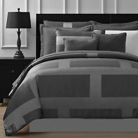 Frame Jacquard Microfiber 8-piece Full Queen & King Comforter Set In Gray
