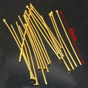200pcs-Gold-Tone-stainless-steel-head-pins-findings-40mm-DIY-Jewelry-Making