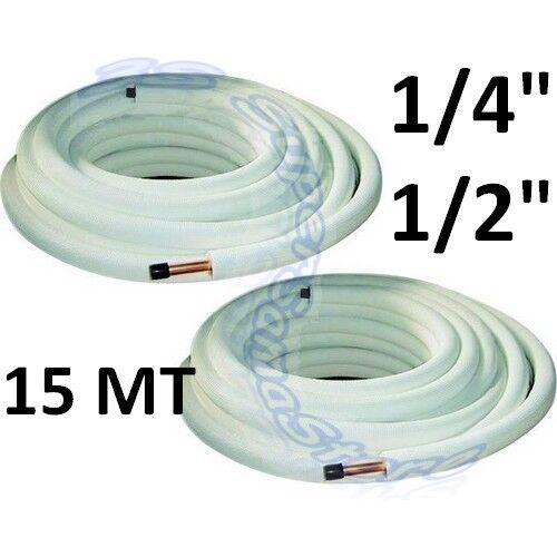 """3S ROTOLI TUBO RAME DA 15 MT 1//4/"""" 1//2/"""" CLIMATIZZATORE"""