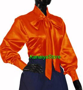 Orange-Satin-Women-long-sleeve-Bow-Blouse-Top-High-Neck-Shirt-SMALL-SIZE