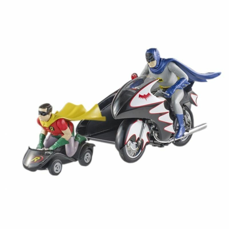 1966 Batcycle Elite con Lateral Coche & Batman & Robin Figuras 1 12 Hotwheels