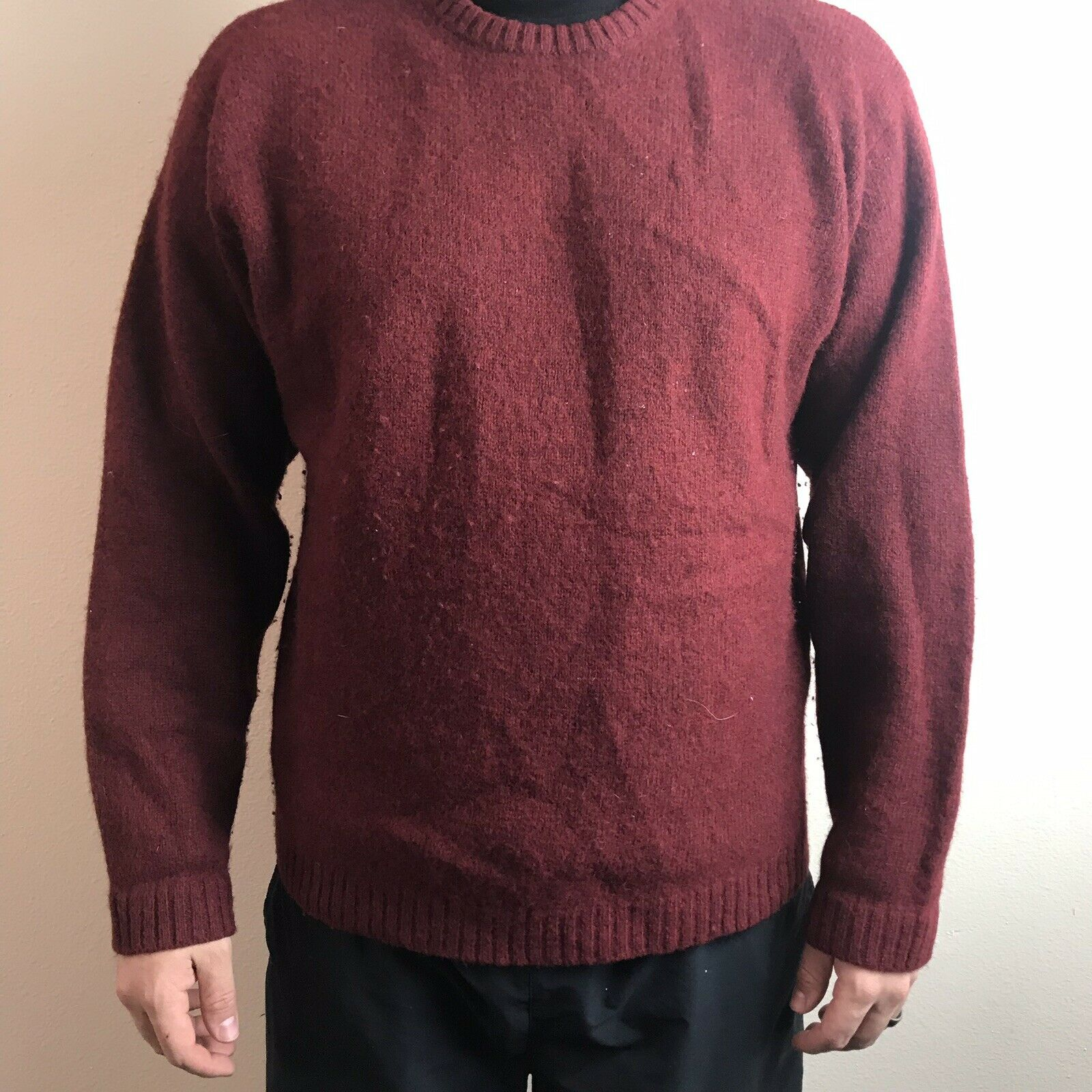 J. Crew Men's Vintage 100% Wool red Winter Sweater Size Large
