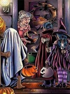 Pumpkin blame Halloween party art wall decor Oil painting Printed on canvas IX