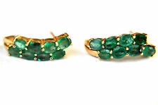 Vintage 14K Solid Gold with Natural Emerald Earrings