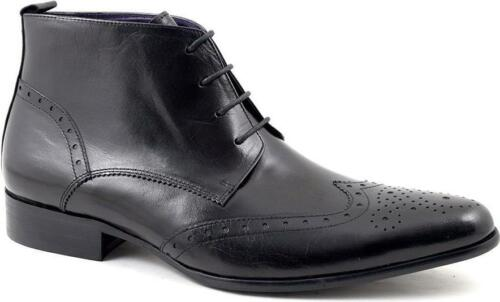 Gucinari EDRIS Mens Shiny Leather Laced Casual Formal Pointed Brogue Derby Boots