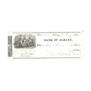 ANTIQUE-1849-ALBANY-75-BANK-CHECK-WITH-VIGNETTE-AA355TSX1