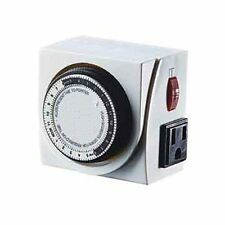 Hydrolux Analog Electric Light on off Timer Dual Outlet Switch -24 hour grounded