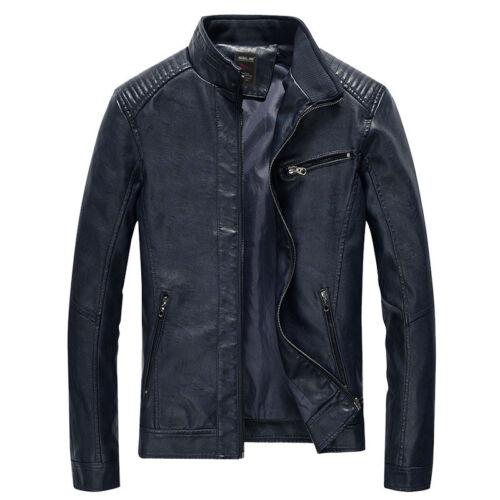 NEW Men/'s PU Leather Washed Jackets Zipper Slim Fit Biker Motorcycle Jacket Coat