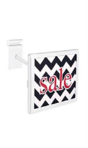"""3 Wire Grid Sign Holder White Holds 7/"""" Wide x 5 ½/"""" High Signs Metal Grid Wall"""