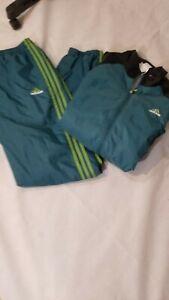 Adidas-Track-Suit-Set-Green-Black-Size-Large-L-Mens-3-Stripes-Jacket-And-pants