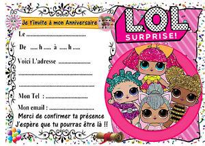 Détails Sur 5 Cartes Invitation Anniversaire Lol Surprise N5