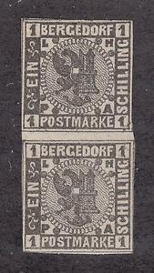 Bergedorf-Sc-2-MNH-1861-1s-black-Coat-of-Arms-vertical-Gutter-Pair-VF