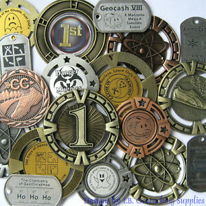 Three-3-Random-amp-Unactivated-Geocaching-Trackables-Geomedals-amp-Dog-Tag