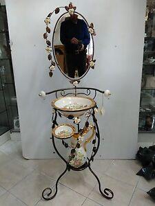 Lavabo via veneto avorio e oro ceramica fiori arredo casa for Veneto arredo