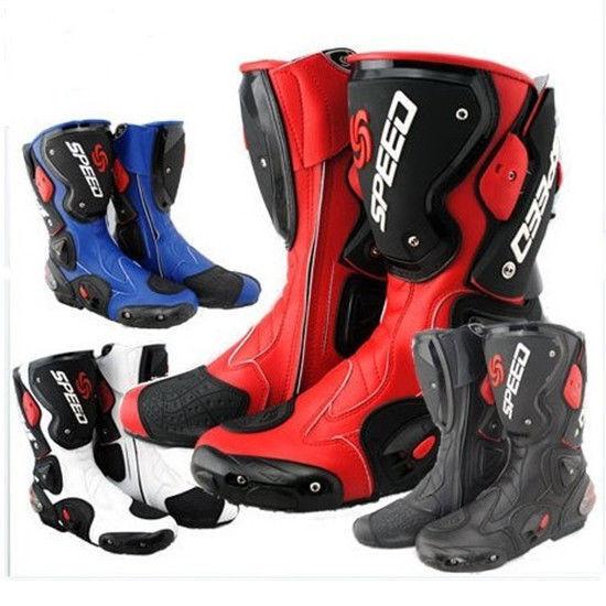 Zapatos de cuero botas Impermeables de Carreras de motocicleta bicicleta seguridad de las colisiones fibra
