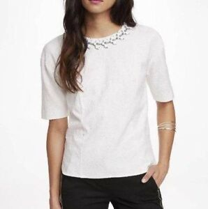 New-Express-Womens-Ivory-Stretch-Jacquard-Jeweled-Neckline-S-S-Top-Blouse-Shirt