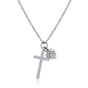 Stripe-Cross-Heart-CZ-Silver-Rose-Gold-GP-Stainless-Steel-Pendant-Necklace-Gift