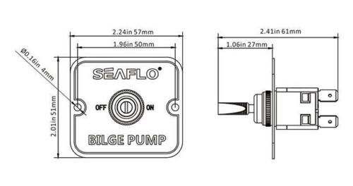 Seaflo Bilge Pump Toggle Switch for Boats 2 Position On//Off Switch Panel