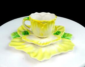 BOMBAY-CO-PORCELAIN-BMA12-YELLOW-FLORAL-2-1-2-034-CUP-AND-SAUCER-TRIO-1992